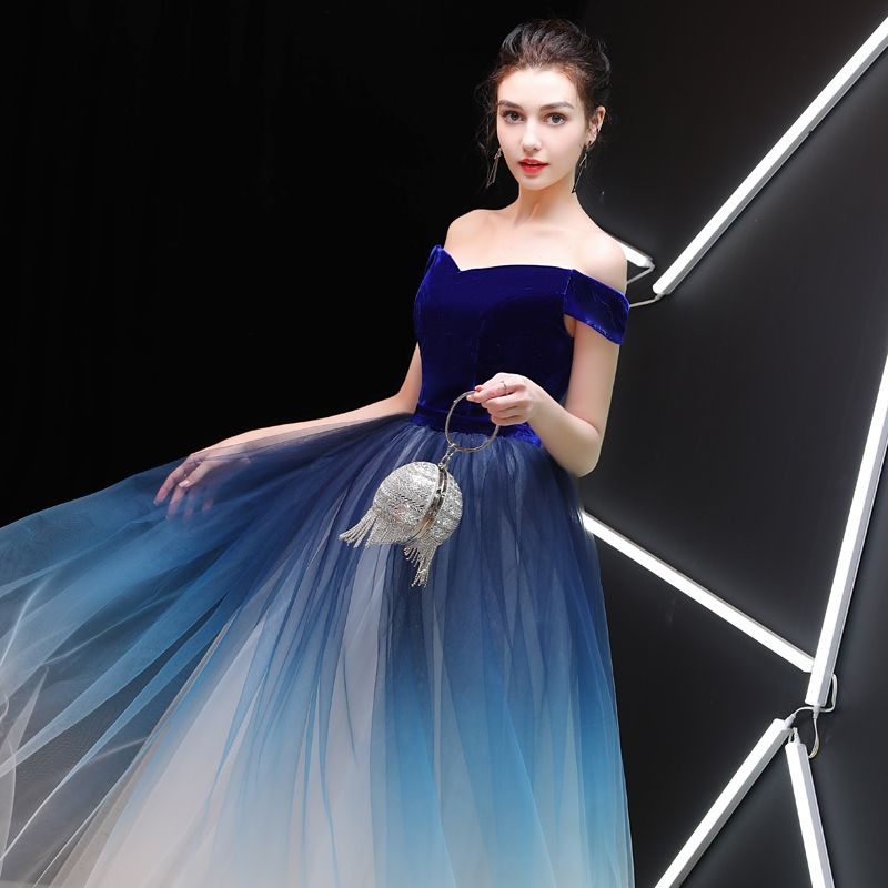 Glamorous Royal Blue Gradient-Color Ivory Suede Prom Dresses 2019 A-Line / Princess Off-The-Shoulder Short Sleeve Sash Floor-Length / Long Ruffle Backless Formal Dresses