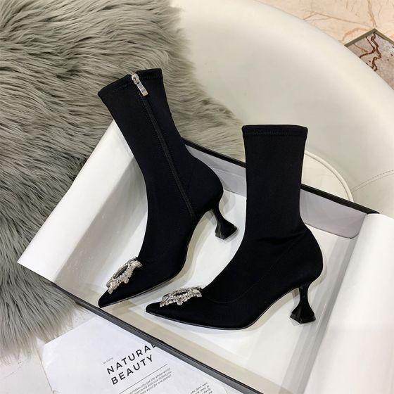Schöne Schwarz Freizeit Stiefel Damen 2020 Strass 5 cm Stilettos Spitzschuh Stiefel