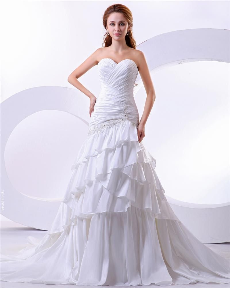 Taffeta Satin Beading Sweetheart Court Mermaid Empire Bridal Gown Wedding Dress