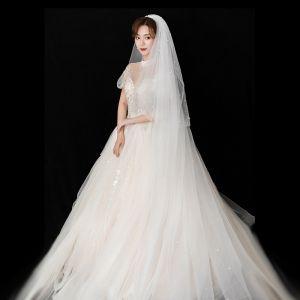 Luxury / Gorgeous White Wedding Veils 2020 Tulle Beading Pearl Chapel Train 3 m Wedding Accessories