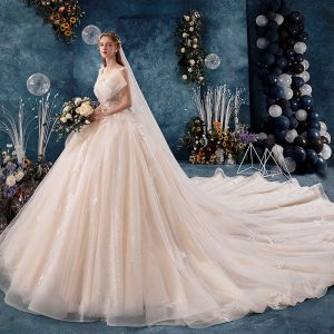 Luxury / Gorgeous Champagne Wedding Dresses 2019 A-Line / Princess V-Neck Sequins Lace Flower Sleeveless Backless Royal Train