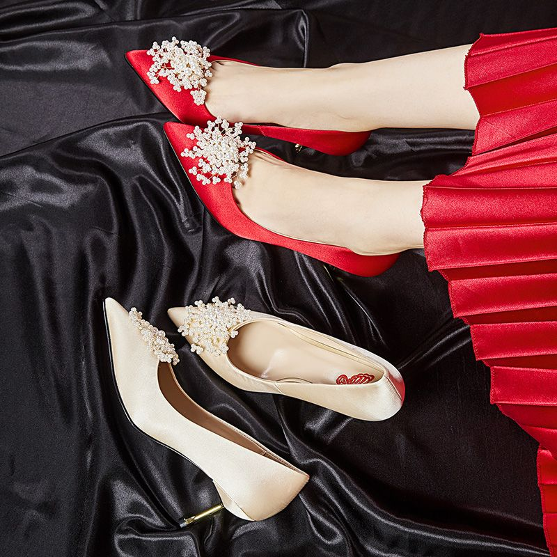 Classy Red Wedding Shoes 2020 Satin Pearl 6 cm Stiletto Heels Pointed Toe Wedding Pumps