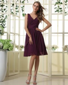 Amylinda Chiffon Ruffle V Neck Knee Length Bridesmaid Dress Gown/Graduation Dresses