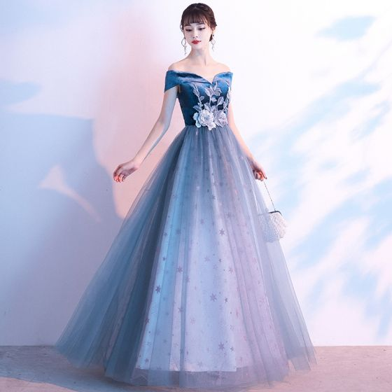 Flower Fairy Ocean Blue Suede Evening Dresses  2020 A-Line / Princess Off-The-Shoulder Short Sleeve Star Tulle Flower Appliques Lace Floor-Length / Long Ruffle Backless Formal Dresses