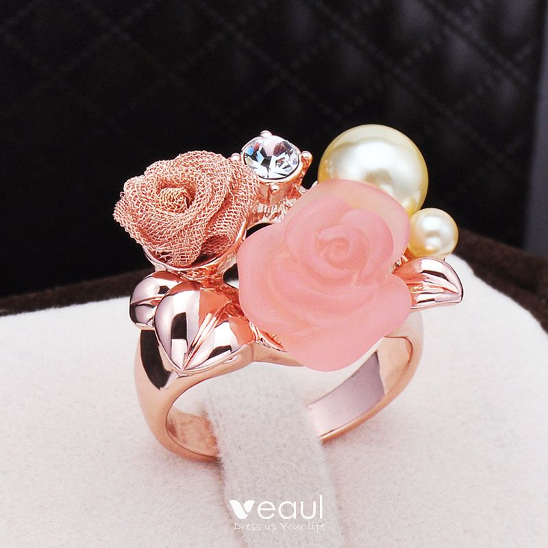 Luxury / Gorgeous Pearl Pink Beading Pearl Rhinestone Flower Ring Metal Evening Party Rings 2019 Accessories