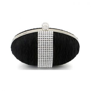 Milan Unique Silk Satin Diamond Banquet Hand Bag Hand Bag Round Box Type Clutch Bags