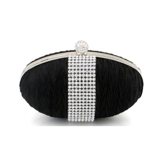 Milan Unique Silk Satin Diamond Banquet Hand Bag Hand Bag Round Box Type Clutch Bags