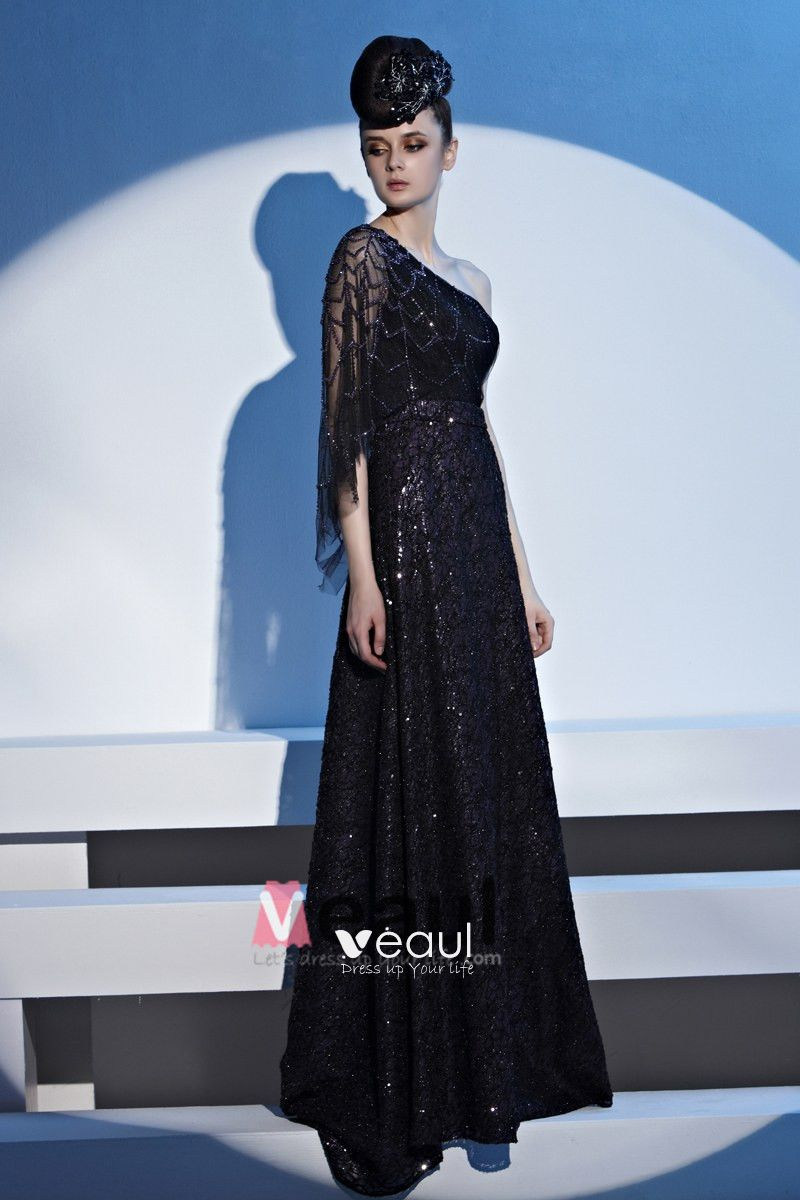 Charming Sloping Floor Length Beading Lace Women Evening Dress