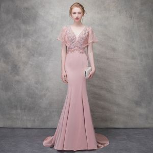 Chic / Beautiful Blushing Pink Evening Dresses  2018 Trumpet / Mermaid Beading Crystal Pearl V-Neck Backless Short Sleeve Sweep Train Formal Dresses
