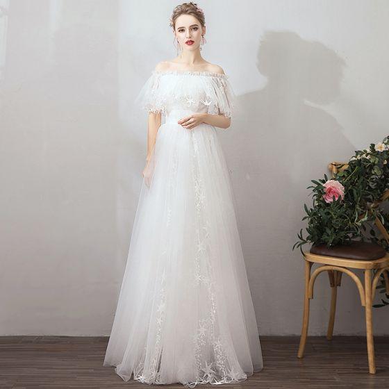 Prisvärd Elfenben Trädgård / Utomhus Bröllopsklänningar 2019 Prinsessa Av Axeln Korta ärm Halterneck Stjärna Appliqués Spets Långa Ruffle