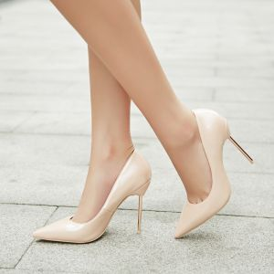 Chic / Beautiful Beige Casual Pumps 2020 Patent Leather 8 cm Stiletto Heels Pointed Toe Pumps