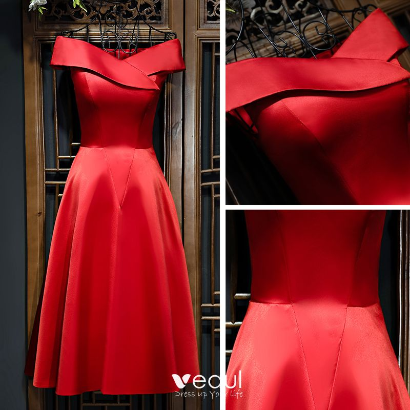Chic / Beautiful Red Evening Dresses  Red 2017 Off-The-Shoulder Sleeveless Short A-Line / Princess Graduation Dresses