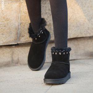 Mode Schneestiefel 2017 Schwarz Leder Ankle Boots Wildleder Niet Freizeit Winter Flache Stiefel Damen