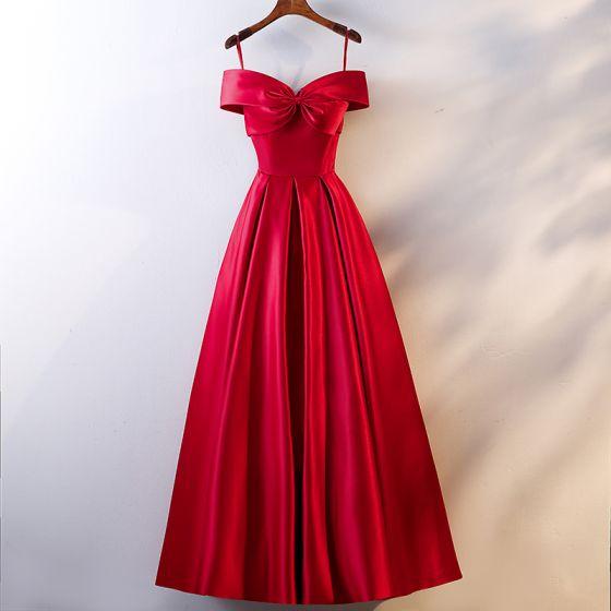 Hermoso Rojo Vestidos de noche 2019 A-Line / Princess Spaghetti Straps Bowknot Sin Mangas Sin Espalda Largos Vestidos Formales