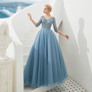 Haut de Gamme Bleu Robe De Soirée 2019 Princesse V-Cou 3/4 Manches Ceinture Perlage Paillettes Faux Diamant Longue Volants Dos Nu Robe De Ceremonie