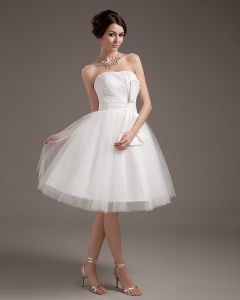 Garn Ruffle Kurze Brautkleider Hochzeitskleid