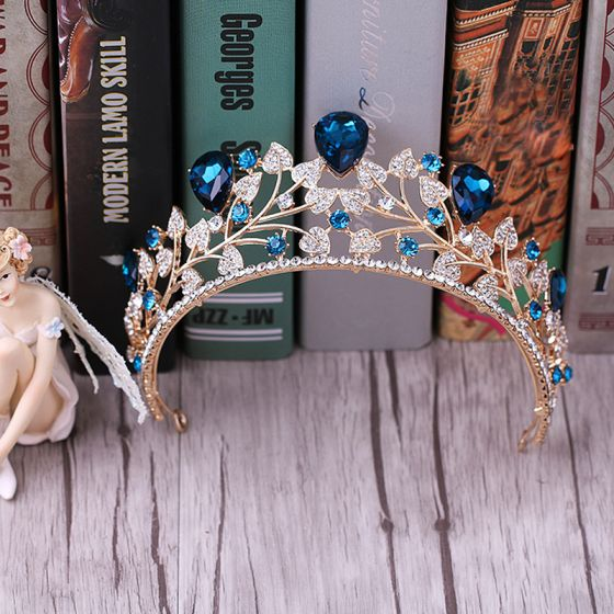 Chic / Beautiful Royal Blue Bridal Jewelry 2017 Beading Rhinestone Crystal Metal Headpieces Wedding Prom Accessories