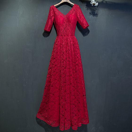 Piękne Czerwone Sukienki Wizytowe 2017 Z Koronki Kwiat Bez Pleców 1/2 Rękawy V-Szyja Długość Kostki Imperium Sukienki Wieczorowe