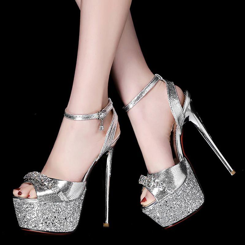 Sparkly Prom Pumps 2017 Polyester Glitter Rhinestone Platform Open / Peep Toe High Heel Pumps