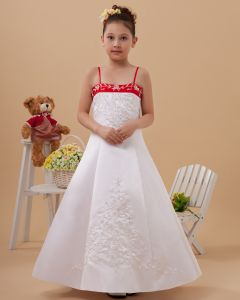 Satin Embroider Sewing Bead Flower Girl Dresses