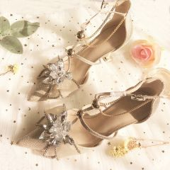 Charming Champagne Evening Party Womens Shoes 2019 Leather Rhinestone T-Strap 8 cm Stiletto Heels Pointed Toe High Heels