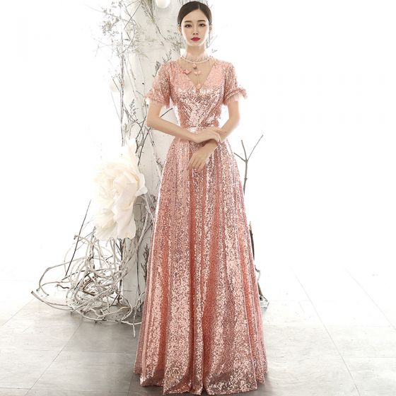Sparkly Rose Gold Sequins Evening Dresses  2020 A-Line / Princess See-through High Neck Puffy Short Sleeve Appliques Flower Beading Floor-Length / Long Ruffle Backless Formal Dresses