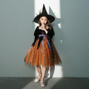 Vintage Halloween Cosplay Czarne Pomarańczowy Sukienki Dla Dziewczynek 2020 Suknia Balowa Kwadratowy Dekolt Bufiasta 3/4 Rękawy Szarfa Cekinami Tiulowe Długość do kolan Wzburzyć