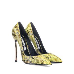 Moda Złote Koktajlowe Drukuj Wężowej Czółenka 2020 12 cm Szpilki Szpiczaste Czółenka