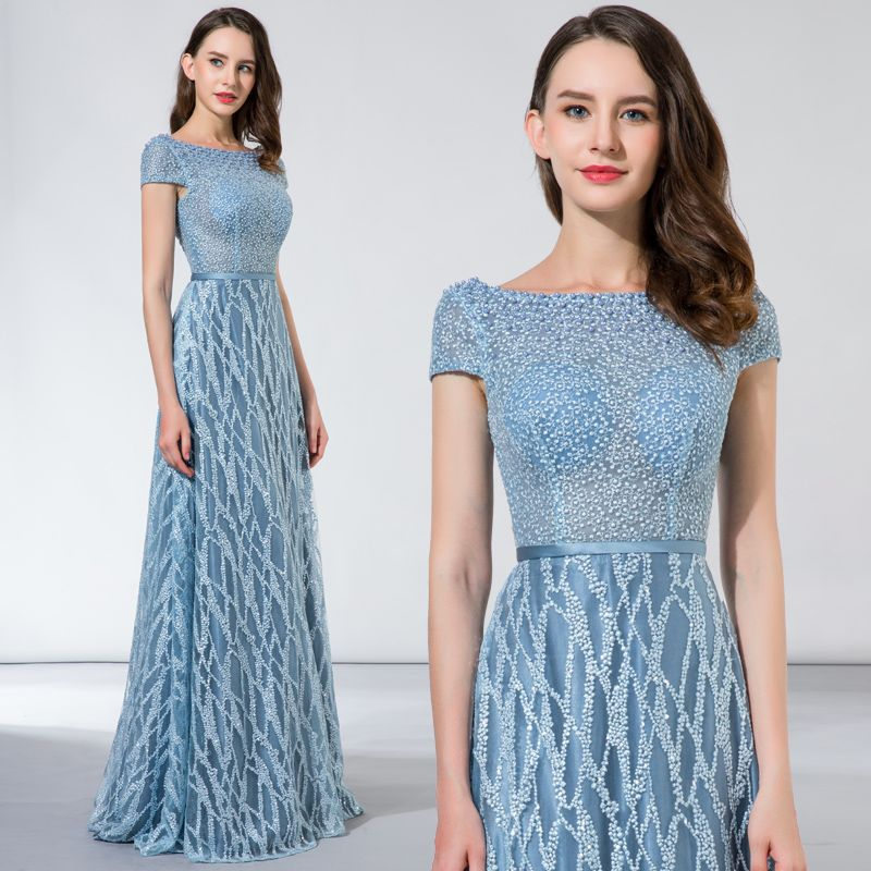 Chic / Beautiful Sky Blue Evening Dresses  2017 A-Line / Princess Lace Beading Sequins Backless Square Neckline Short Sleeve Floor-Length / Long Formal Dresses