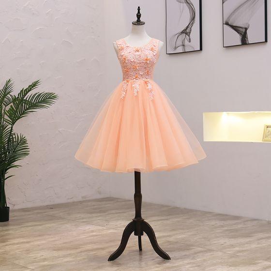 Rimelig Orange Festkjoler 2021 Prinsesse Scoop Halsen Uten Ermer Appliques Blonder Beading Perle Korte Buste Ryggløse Formelle Kjoler
