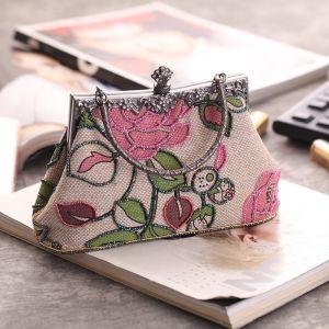 Vintage Candy Roze Kralen Het Drukken Vlecht Metaal Handtassen 2018