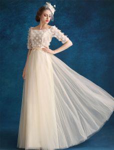 Prinzessin Abendkleider 2016 Applique Champagner Tüll Lange Festliche Kleider Mit 1/2 Ärmeln