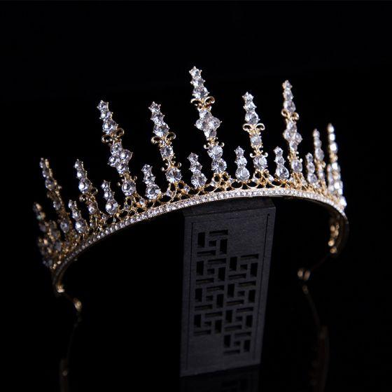 Klassisk Guld Hårpynt 2020 Legering Tiara Rhinestone Bryllups Accessories