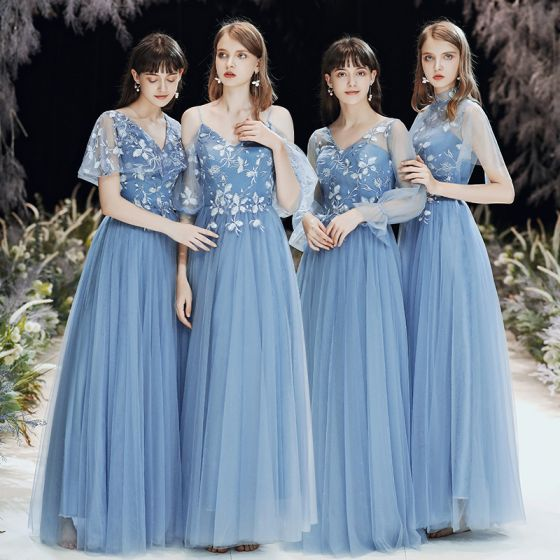 Affordable Sky Blue See-through Bridesmaid Dresses 2020 A-Line / Princess Backless Appliques Lace Floor-Length / Long Ruffle