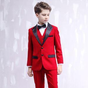 Simple Noire Cravate Rouge Costumes De Mariage pour garçons 2020