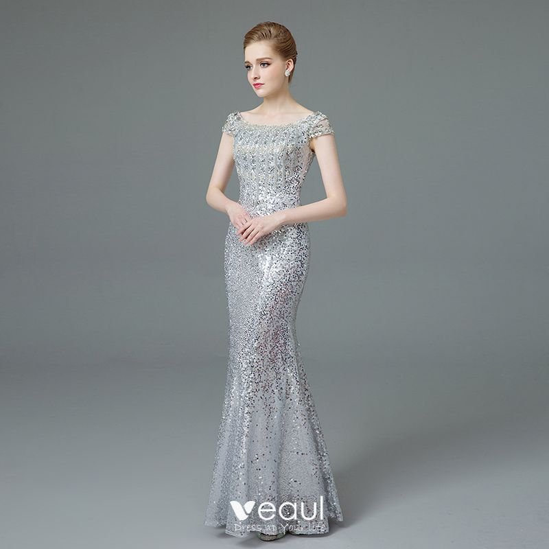 Chic / Beautiful Evening Party Trumpet / Mermaid 2017 Gold Silver Crossed Straps Crystal Sequins Satin U-Neck Cocktail Party Fall Spring Evening Dresses