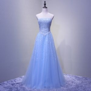 Chic / Beautiful Starry Sky Sky Blue Prom Dresses 2018 A-Line / Princess Beading Sequins Strapless Backless Sleeveless Floor-Length / Long Formal Dresses