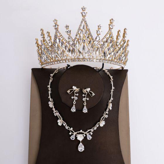Klassisch Gold Brautschmuck 2020 Legierung Strass Ohrringe Halskette Diadem Haarschmuck Braut