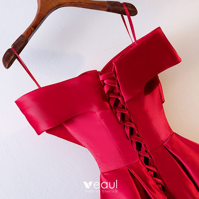 Schöne Rot Abendkleider 2019 A Linie Spaghettiträger Schleife ärmellos Rückenfreies Lange Festliche Kleider
