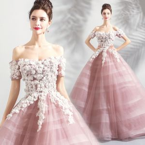 Elegant Blushing Pink Prom Dresses 2018 Ball Gown Lace Flower Appliques Pearl Sequins Off-The-Shoulder Backless Short Sleeve Floor-Length / Long Formal Dresses