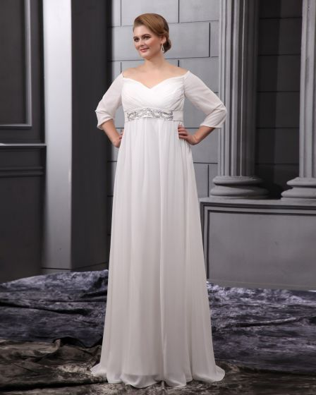 Chiffon Beads V Neck Floor Length Plus Size Bridal Gown Wedding Dress