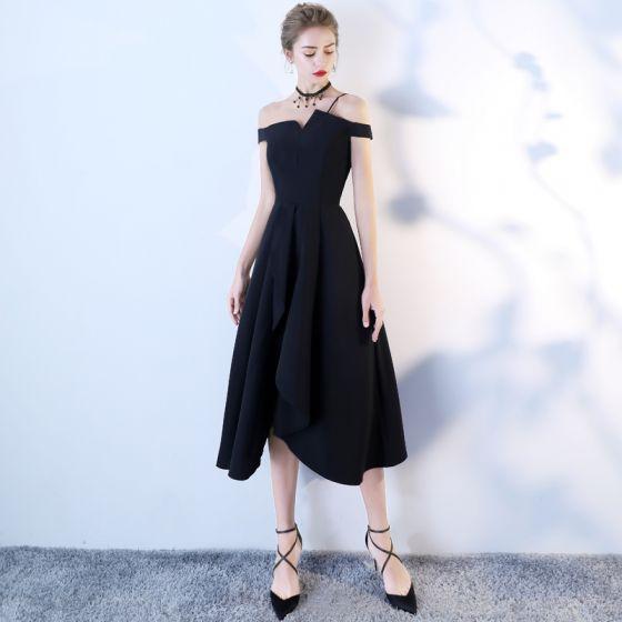 4804a73fe Hermoso Negro de fiesta Vestidos de graduación 2018 A-Line   Princess Fuera  Del Hombro Sin Espalda ...