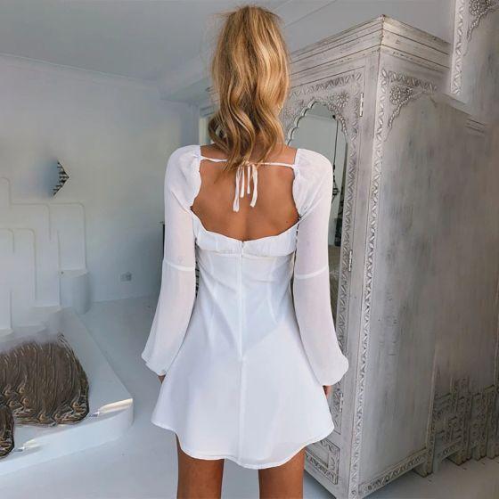 Chic / Beautiful White Chiffon Short Summer Maxi Dresses 2020 Square Neckline Puffy Long Sleeve Backless Womens Clothing