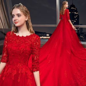 Chic / Beautiful Red Wedding Dresses 2019 A-Line / Princess Scoop Neck Beading Crystal Lace Flower 1/2 Sleeves Royal Train