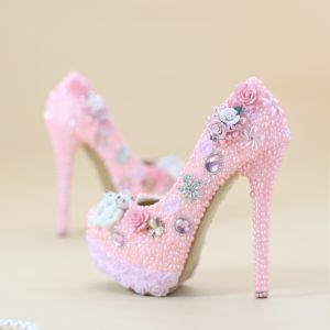 Mooie / Prachtige Candy Roze Bruidsschoenen 2019 Appliques Rhinestone Kristal Parel 14 cm Naaldhakken / Stiletto Ronde Neus Huwelijk Pumps