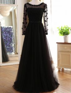 Schöne Abendkleider 2016 A-line Rundhalsausschnitt Applique Blätter Wulstige Schwarzem Tüll Langes Kleid