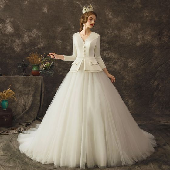 Vintage / Retro Ivory Wedding Dresses 2019 A-Line / Princess V-Neck Long Sleeve Sash Court Train Ruffle