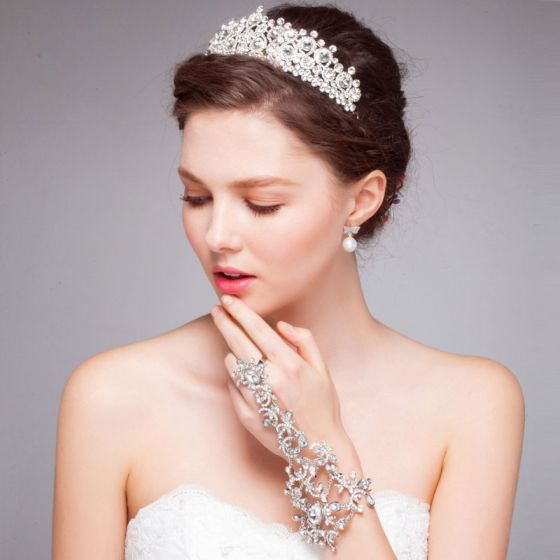 White Luxury Diamond Crown Tiara/ Wedding Hair Accessories Bridal Jewelry Piece Fitted