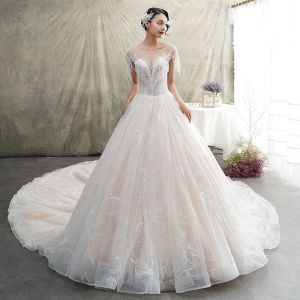 Luxury / Gorgeous Champagne See-through Wedding Dresses 2019 A-Line / Princess Scoop Neck Short Sleeve Backless Feather Appliques Lace Glitter Tulle Beading Tassel Cathedral Train Ruffle