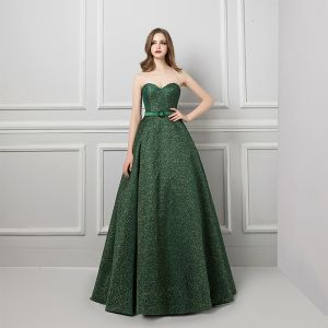 Modern / Fashion Dark Green Evening Dresses  2019 A-Line / Princess Sweetheart Sleeveless Gold Printing Flower Sash Sweep Train Ruffle Backless Formal Dresses